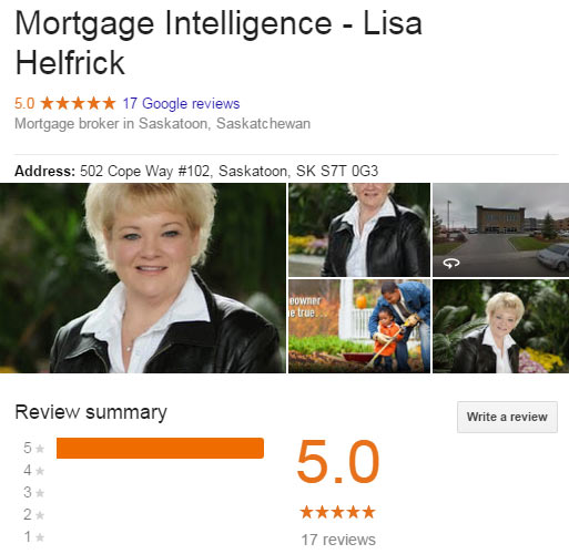 Google Reviews for Lisa Helfrick - Saskatoon Mortgage Broker and Debt Consolidation